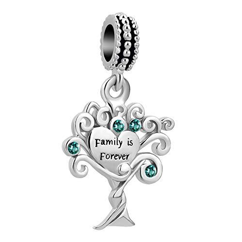 Korliya family is forever albero della vita charm per braccialetti e rame, colore: green, cod. emw_dpc_fa518_x05