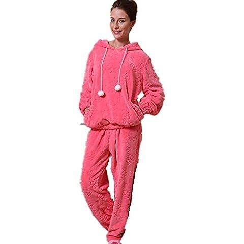 LIUDOUPijamas de las señoras pijama Pijama manga larga conjunto con pantalones de franela , m