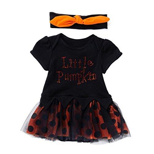 YunYoud Säugling Kleinkind Halloween Kleider Baby Mädchen Jumpsuit Kleidung Mode Niedlich Kürbis Bowknot Party Kleid Beiläufig Spielanzug Overall Kleid+Stirnband(Schwarz,66)