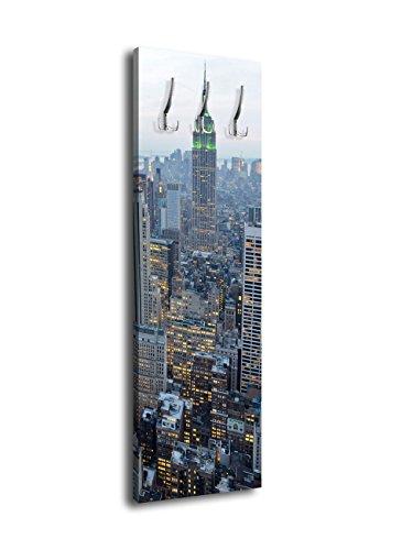 wandmotiv24 Perchero con diseño New York Skyview G16440x 125cm-Perchero de Pared América NY Skyline
