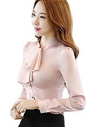 b6b8345946 KCMCY Blusas Collar con Volantes Mujer Blusa Femenina Slim Fit Camisa De  Gasa Tops Office Lady