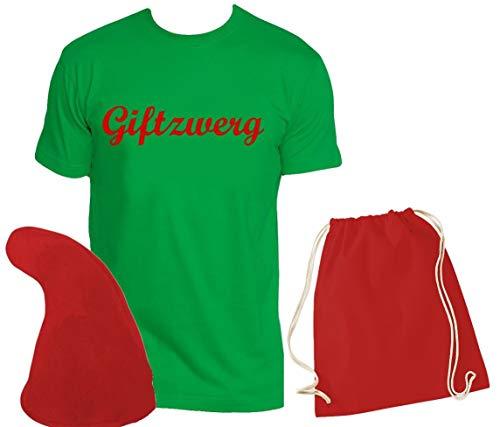 M Und M Green Kostüm - Coole-Fun-T-Shirts ZWERGEN Kostüm Set Giftzwerg T-Shirt + Zwergenmütze + Sack Green-rot Gr.M