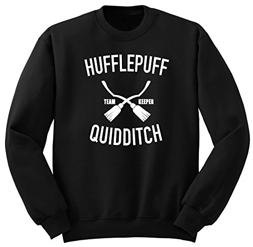 Hufflepuff Quidditch Sweat-Shirt, Harry Potter Quidditch Sweat-Shirt, Harry Potter Vetement, Quidditch Sweatshirt SW44 Noir