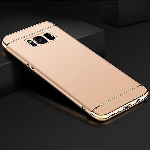 Samsung Galaxy S8 (5,8 Zoll) Hülle, MSVII® 3-in-1 Design PC Hülle Schutzhülle Case Und Displayschutzfolie für Samsung Galaxy S8 (5,8 Zoll) - Rot / RED JY50102 Gold