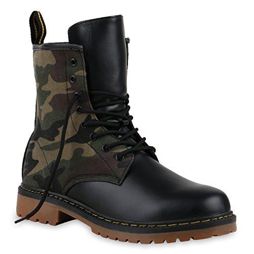 Herren Worker BootsStiefeletten Leder-Optik Camouflage Stiefel Army Look Profilsohle Schnür Schuhe 127998 Camouflage Schwarz 36 Flandell