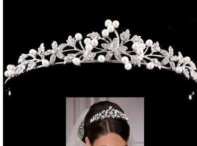 Novia Cristal Diadem brillantes perlas Corona cinta de pelo para Boda