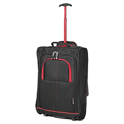 "21""/55cm 5 Cities Black Carry On Lightweight Cabin Approved Trolley Bag Hand Luggage"