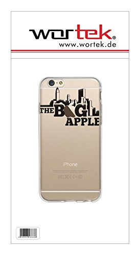 wortek Designer High Quality TPU Silikon - Case Schutzhülle Transparent mit Logo Motiv für Apple iPhone 6 / 6S (Schmetterling 1) Big Apple