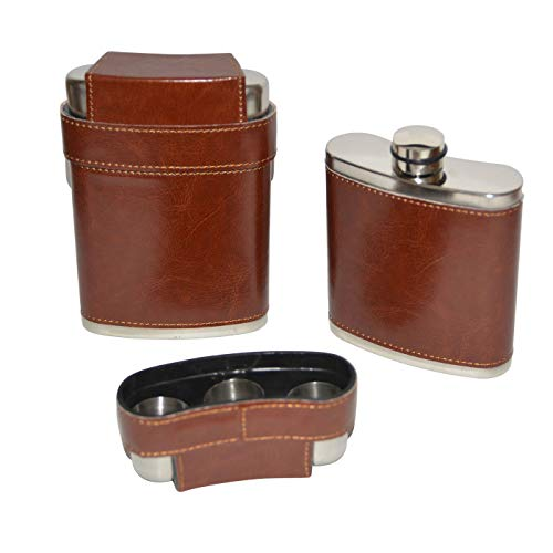 all-around24 Flachmann aus Edelstahl Taschenflachmann Taschenflasche mit 3 Bechern und Becher Aufsatz(ca.200ml, Braun)