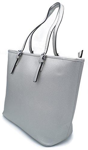 Damen Handtasche Schultertasche Shopper Uni Farbig Kunstleder A4 Format Silber