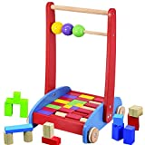 Baby Walker Activity Wooden Bricks Blocks Cart & Abacus Learning Toddler Educational Colourful Toy