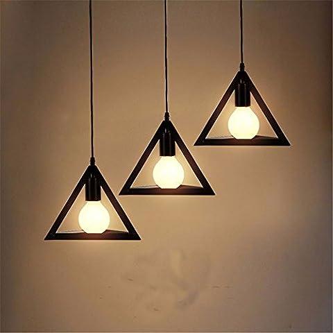 MJJ Boutique lusso semplice lampadario in ferro, tre la testa diritta il vassoio 5 W Perla nera della lampadina