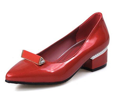 Puxe Allhqfashion Couro Dedo Apontado Senhoras Bombas Sapatos Colocados No Vermelho