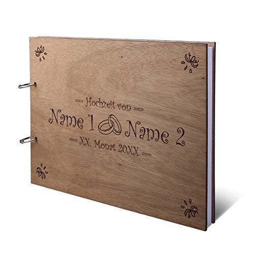 Hochzeit Gästebuch Okoume Holz Gravur individuell Holzcover mit 144 Naturpapier Innenseiten DIN A4 quer 302 x 215 mm - Ringe