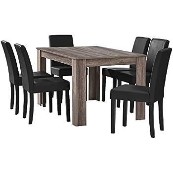 Esstisch eiche antik  en.casa] Esstisch Eiche antik mit 6 Stühlen schwarz Kunstleder ...