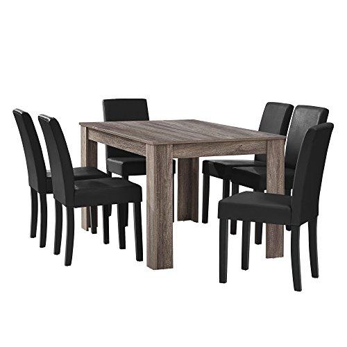 [en.casa] Esstisch Eiche antik mit 6 Stühlen schwarz Kunstleder gepolstert 14...