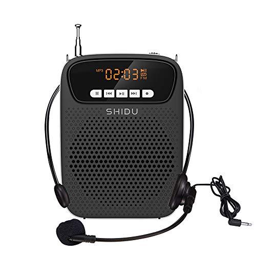 Amplificatore vocale portatile SHIDU, sistema PA da 15 W con microfono, schermo OLED, Bluetooth, FM, funzione di registrazione, altoparlante per l'insegnamento, guida, istruttori di fitness (S278)