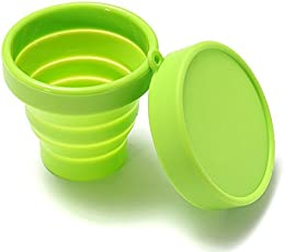 Imported 170ml Silicone Foldable Collapsible Cup with Lid Camping Travel Green