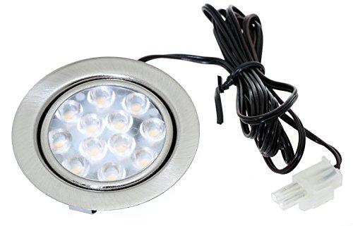 2er Set LED Möbeleinbauleuchte Luisa 12Volt 3Watt inkl. Anschlusskabel mit Stecker Farbe: Edelstahl gebürstet.