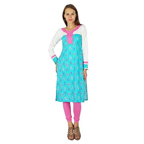 Phagun femmes kurta bollywood concepteur robe de coton kurti Aqua Bleu Et Rose