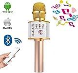 HYLH Microfono Wireless per Karaoke Altoparlante Bluetooth Lettore Musicale per Smartphone Android iOS Macchina per Karaoke Portatile per Feste all'aperto in casa KTV Singing, Gold