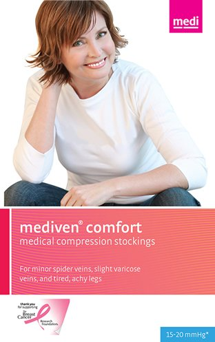Medi Comfort Thigh High (Medi comfort Thigh High w/sil band 15-20mmHg Open Toe, IV, Natural by Medi)