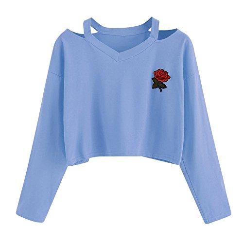 Damen Langarm V-Hals Sweatshirt Rosen Druck Crop Tops Bluse (S, Blau) (Dessous-party Dekorationen)