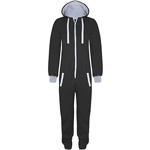 Gaffer Kids Unisex Boys Girls Hooded Zip Up Onesie Playsuit All In One Piece Jumpsuit For Kids Age 7 8 9 10 11 12 13 (Age 7-8, Plain Black)