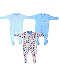 49f4bb1e0455 Mini Berry Baby Boy Cotton Rompers in Blue Color -Set of 3Pcs
