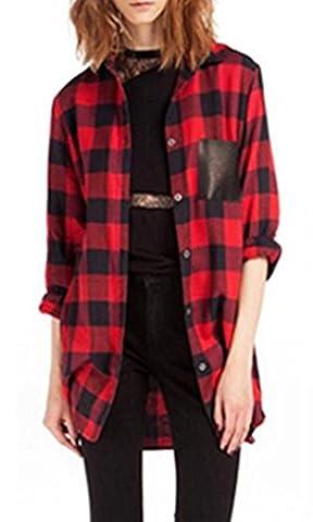 ZANZEA Women's Plaid Shirt Long Sleeve Blouse Black Red Check