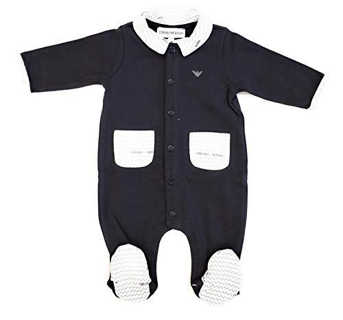 9b5d20657bc Armani Junior Tutina in Cotone con dettagli a Fantasia Logo Bambino Baby Boy  Mod. 6ZHD10