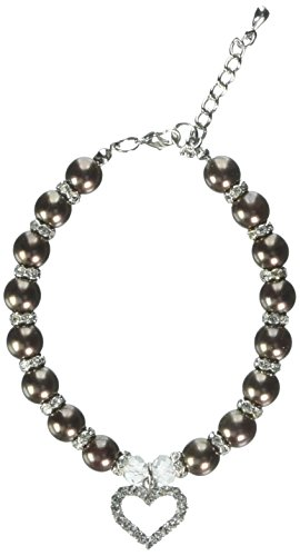 Mirage Pet Products Herz und Perle Halskette, Schokolade (Schokolade Perle Anhänger)