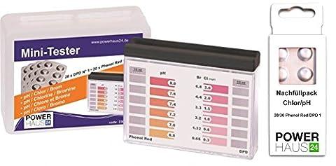Powerhaus24®–Testeur de chlore/pH de piscine avec 100comprimés (50x DPD1et 50x Phenol Red)