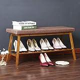 Yisaesa Bambus für den Schuh Hocker Tür Schuhe Lagerung Hocker Nachttisch Tail Bench Tür Verschleiß Schuh Hocker Regal Zubehör (Größe: 60cm) (Farbe : -, Größe : 90 cm)