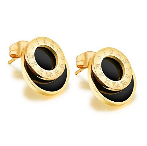 1 Paare Ohrstecker Ohrringe Damen Mädchen Titanstahl Hypoallergen mit Anhänger de Kreise Rosegold Schwarz Mode Fantasie Ohrstuds für Fraunen Freundin Geburtstagsgeschenk (Golden)