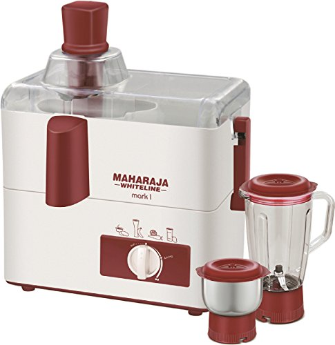 Maharaja Whiteline Mark 1 Happiness 450-Watt Juicer Mixer Grinder (White and Red)
