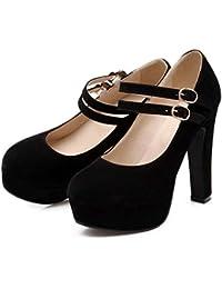 Zapatos de mujer Spring Summer Stiletto Heel para fiesta y noche Black Red Blue Beige ( Color : Black , tamaño...