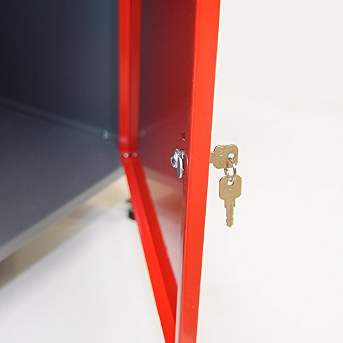 Werkbank aus Metall mit 30 mm Sperrholzplatte, robusten Oberflächen, verschließbaren Türen und Schublade, Maße B 1,20 x H 0,85 X T 0,60 m - 2