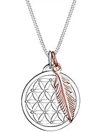 d28fe85ae552 Elli Damen Echtschmuck Halskette Kette Lebensblume Feder Anhänger Bi-Color  in 925 Sterling Silber
