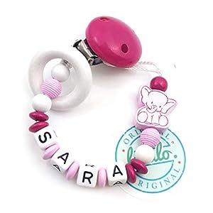 Baby Schnullerkette mit Namen, Elefant, Holzring, Pink, Handmade Namenskette/Schnullerhalter zur Geburt, Geburtstag, Taufe für Mädchen