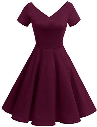(Gardenwed Damen Vintage 1950er V-Ausschnitt Rockabilly Kleid Partykleid Retro CocktailKleid Burgundy 2XL)
