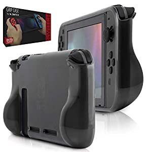 Orzly Comfort Grip Case for Nintendo Switch – Protective Back Cover for use on The Nintendo Switch Console in Handheld Gamepad Mode with Built in Comfort Padded Hand Grips – Smokey Slate
