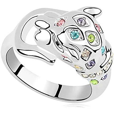 AieniD Anelli Donna Matrimonio Placcato Oro Tigre Zirconia Cubica Fidanzamento Anelli per Donne - Stella Di Davide Oro Bianco Anello