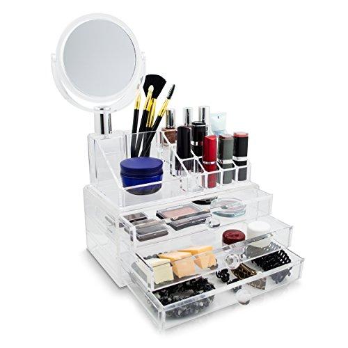 Kosmetik Organizer 3 Schubladen inkl. Spiegel - Transparent 36 x 24 x 14 cm - Box Aufbewahrung & Präsentation - Grinscard