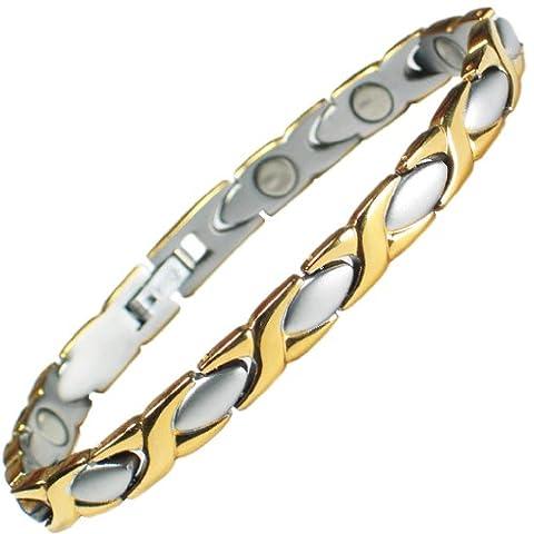 MPS® Damen Edelstahl Magnetische Armband, Leistungsstarke 3000 Gauß Magneten, mit