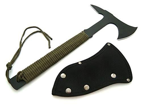 KOSxBO® Set Wurfaxt Beil Axt Paracord schwarz Oliv Tactical Tomahawk inklusive Tasche mit Gürtelclip