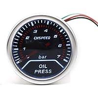 CNSPEED 12V 0-7 Bar Auto Car LED Medidor de presión de aceite digital Medidor de combustible 52mm Lente de humo con sensor para modificación universal de automóviles