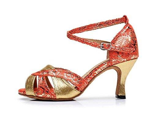JSHOE Chaussures De Danse Femmes Pour La Salle De Bal Latine Salsa Floral Satin / Tango / Chacha / Samba / Moderne / Jazz Chaussures Sandales Talons Hauts