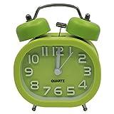 COOJA Sehr Lauter Wecker Vintage, 3 Zoll Wecker Doppelglocken Analoger Wecker Ohne Ticken Lautlose Batteriebetrieben Alarm Clock Kinder Mädchen -Grün