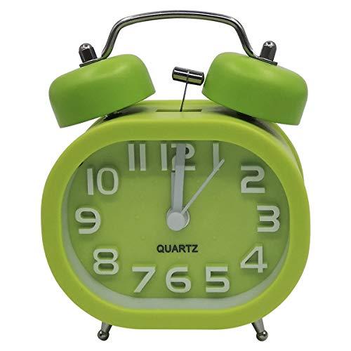 COOJA Reloj Despertador Vintage Retro Alarm Clock, 3 Pulgadas Despertador Doble Campana Despertador Silencioso Sin Tic TAC, Despertadores Analogicos Despertador Fuerte Reloj de Mesa -Verde